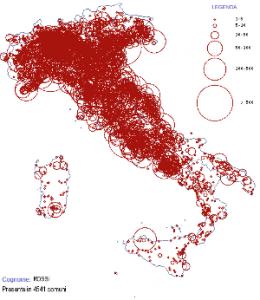 Mappa dei cognomi: Rossi